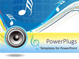 PowerPlugs: PowerPoint template with a speaker with musical notes on a blue background