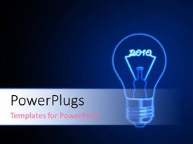PowerPlugs: PowerPoint template with special light bulb with filament making 2010 on blue background