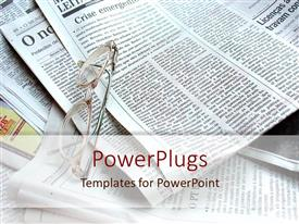 PowerPlugs: PowerPoint template with spectacles on several sheets of news paper