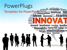 PowerPlugs: PowerPoint template with a silhouette of business men and women with a bubble and text