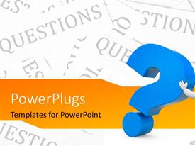 PowerPlugs: PowerPoint template with 3D man pushing large blue question mark symbol