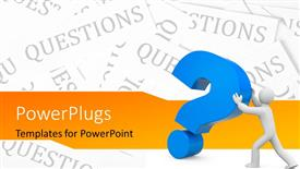 PowerPoint template displaying 3D man pushing large blue question mark symbol