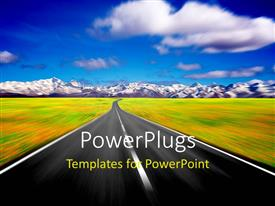 PowerPlugs: PowerPoint template with speeding road through field blurred depiction of road ahead