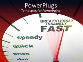 PowerPoint template displaying speedometer close up with red needle pointing Breathlessly Insanely Fast
