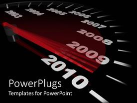 PowerPoint template displaying a speedometer counting years instead of speed