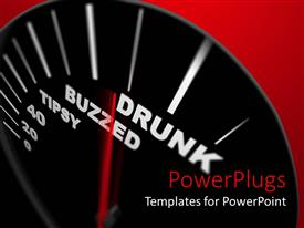 PowerPoint template displaying a speedometer designed to tell how drunk is the driver