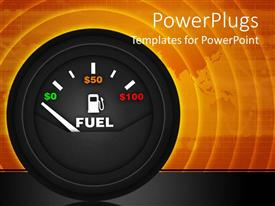 PowerPoint template displaying a speedometer with indication of fuel and its price