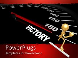 PowerPlugs: PowerPoint template with a speedometer with the needle reaching victory sign along with a figure