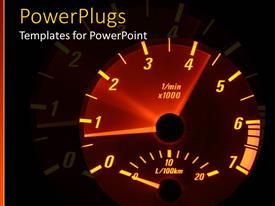 PowerPlugs: PowerPoint template with a speedometer with various colors and its reflection as the background