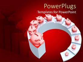 PowerPlugs: PowerPoint template with spiral ascending stairs with piggy banks all the way up