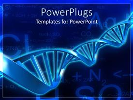 PowerPoint featuring spiral molecular blue DNA strand on blue background with calculations