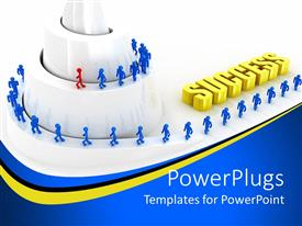 PowerPlugs: PowerPoint template with spiral mountain with blue and red human figures climbing it