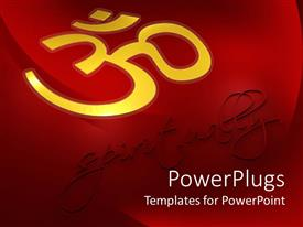 PowerPoint template displaying spirituality metaphor with gold Om symbol on red background, Hinduism, Buddhism