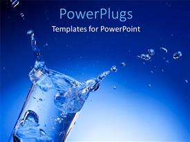 PowerPlugs: PowerPoint template with splash of mineral water with ice cubes in a transparent glass