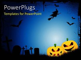 PowerPlugs: PowerPoint template with spooky Halloween background with spooky jack o lanterns in a graveyard with a witch flying on a broom