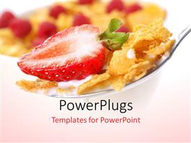 PowerPoint template displaying a spoon of cereal and a strawberry piece with blurred background