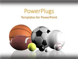 PowerPlugs: PowerPoint template with sports balls lined up white background
