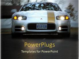 PowerPoint template displaying sports car on road in motion with headlights on