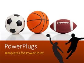 PowerPlugs: PowerPoint template with sports equipment on white including a basketball a soccer ball and an american football and players as silhouettes