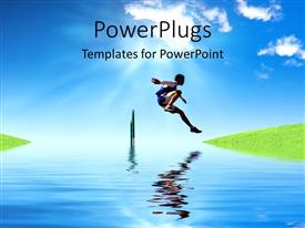PowerPlugs: PowerPoint template with sports man crossing a hurdle with nature