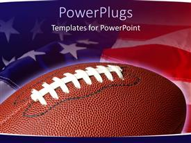 PowerPlugs: PowerPoint template with sports theme with football on waving American flag background