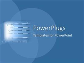 PowerPlugs: PowerPoint template with spotlight depicting dental equipment with various dental tools and the word dentistry on teal blue background