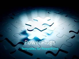 PowerPoint template displaying spotlight focused on elevated missing piece of jigsaw puzzle