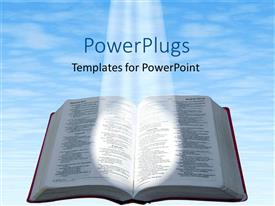 PowerPlugs: PowerPoint template with spotlight glowing on open Bible with blue cloudy sky