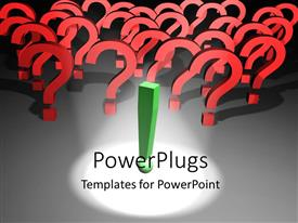 PowerPlugs: PowerPoint template with spotlight on green exclamation mark with question mark symbols in background