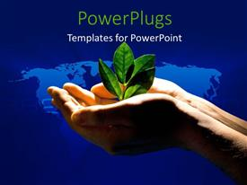 PowerPlugs: PowerPoint template with spotlight shining on plant sprouting from earth in man hand over world map