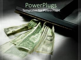 PowerPlugs: PowerPoint template with spotlight shining on vacuum sucking dollar bills of different denominations