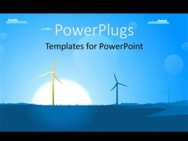 PowerPlugs: PowerPoint template with a painting showing two wind turbines on a landscape