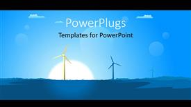 PowerPoint template displaying a painting showing two wind turbines on a landscape