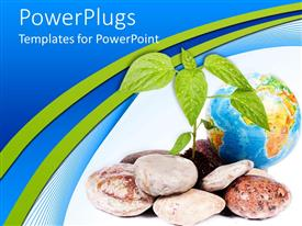 PowerPoint template displaying sprouting plant with rocks next to blue earth globe