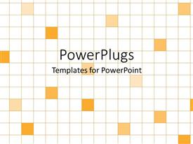 Presentation enhanced with squared background with orange filled boxes on white background