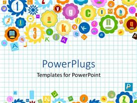 PowerPlugs: PowerPoint template with squared notebook background with various shapes and symbols depicting letters and numbers