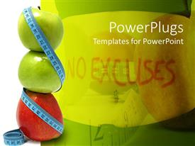 PowerPoint template displaying stack of apples wrapped with measuring tape, no excuses