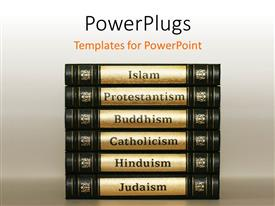 PowerPoint template displaying stack of arranged tabs with text that spell out different religions