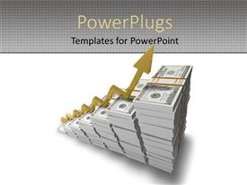 PowerPlugs: PowerPoint template with a stack of ascending dollar bills and an arrow