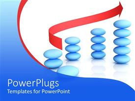 PowerPlugs: PowerPoint template with stack of blue pebbles with a red arrow on a white background