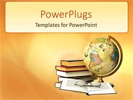 PowerPlugs: PowerPoint template with stack of books beside an earth globe and a pair of glasses