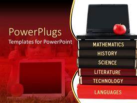PowerPoint template displaying stack of books with black laptop and red apple on top
