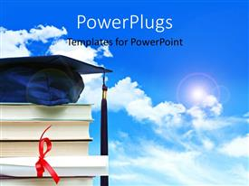 PowerPlugs: PowerPoint template with a stack of books with a graduation gown on top of it