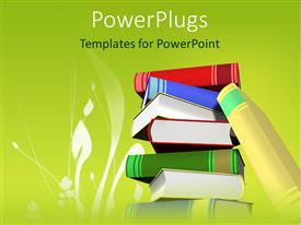 PowerPlugs: PowerPoint template with stack of books with green background and white grass silhouette