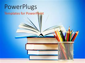 PowerPlugs: PowerPoint template with stack of books with top book open and pages fanned next to cup of colored pencils