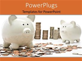 PowerPoint template displaying stack of coins and coin littered on white surface beside piggy bank