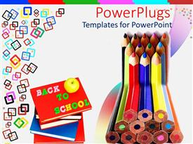 PowerPoint template displaying stack colored pencils next to pile of books, back to school