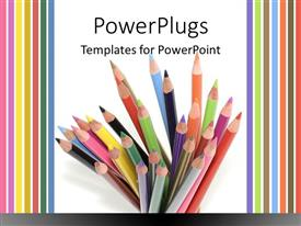 PowerPoint template displaying stack of colored pencils on white background framed by colorful stripes