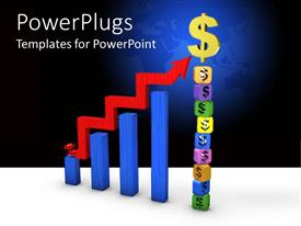 PowerPlugs: PowerPoint template with stack of colorful blocks with a $ symbol and blue bar chart