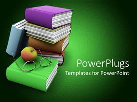 PowerPlugs: PowerPoint template with stack of colorful books with an apple and a pair of eye glasses on top
